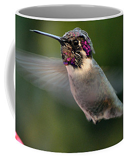 Coffee Mug featuring the photograph Male Anna's In Flight by Jay Milo