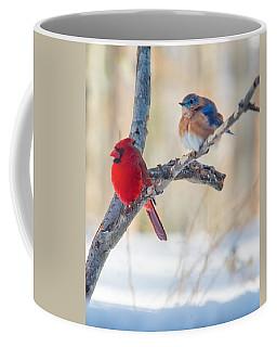 Male Bluebird And Cardinal On Branch Coffee Mug