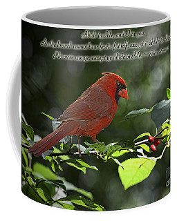 Male Cardinal On Dogwood Branch With Verse Coffee Mug