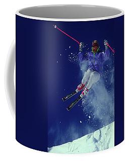 Male Skier In Midair Vail Colorado Coffee Mug