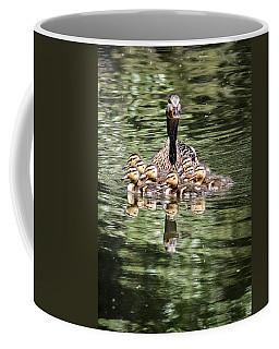 Mallard Hen With Ducklings And Reflection Coffee Mug