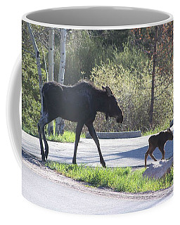 Mama And Baby Moose Coffee Mug by Fiona Kennard