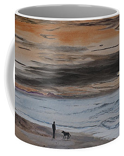 Man And Dog On The Beach Coffee Mug