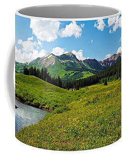Man Camping Along Slate River, Crested Coffee Mug