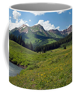 Man Fly-fishing In Slate River, Crested Coffee Mug