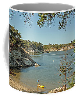 Man Going Kayaking Coffee Mug by Charles Beeler