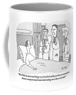 Man In Hospital Bed Speaking To Three Doctors Coffee Mug