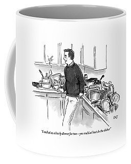 Man In Kitchen Surrounded By Dishes Coffee Mug
