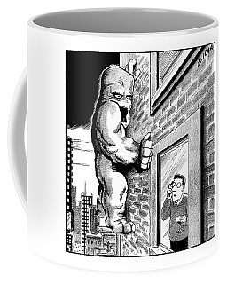 Man On Cell Phone Sees Monster On Side Coffee Mug