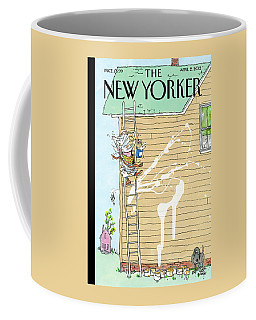 Man On Ladder Painting House Making A Mess Coffee Mug