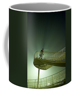 Coffee Mug featuring the photograph Man On Stairs With Case In Fog by Lee Avison