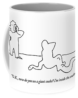 Man Speaks To Another Man Inside Of A Giant Snake Coffee Mug