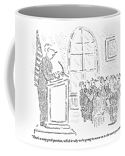 Man Stands At A Podium - A Flag Is To His Left Coffee Mug