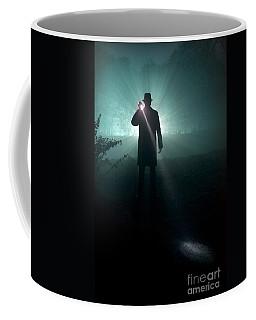 Coffee Mug featuring the photograph Man With Flashlight  by Lee Avison