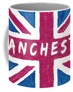 Coffee Mug featuring the digital art Manchester Distressed Union Jack Flag by Mark E Tisdale
