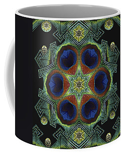 Coffee Mug featuring the digital art Mandala Peacock  by Nancy Griswold