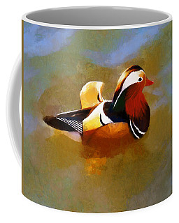 Mandarin Duck Flapping In The Water Coffee Mug