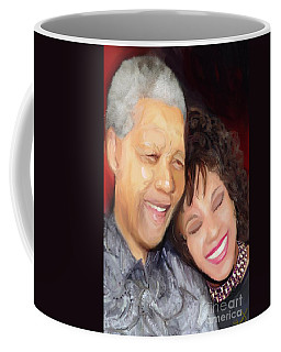 Coffee Mug featuring the painting Mandela And Whitney by Vannetta Ferguson