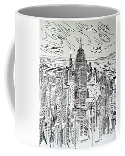 Coffee Mug featuring the drawing Manhattan by Janice Rae Pariza