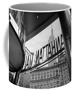 Coffee Mug featuring the photograph Manhattan Mall Sign by Dave Beckerman