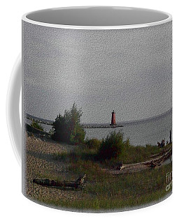 Coffee Mug featuring the photograph Manistique Light by Charles Robinson