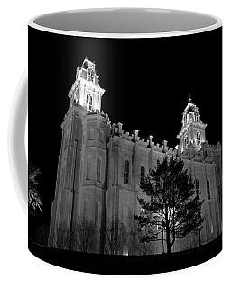 Manti Temple Black And White Coffee Mug by David Andersen