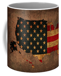 Map Of America United States Usa With Flag Art On Distressed Worn Canvas Coffee Mug