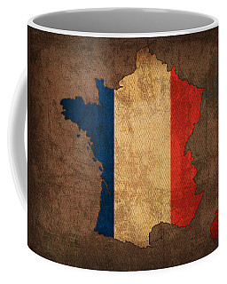 Map Of France With Flag Art On Distressed Worn Canvas Coffee Mug