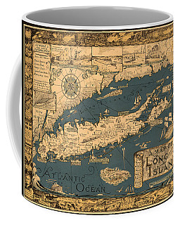 Map Of Long Island Coffee Mug by Andrew Fare