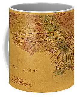 Map Of Los Angeles Hand Drawn And Colored Schematic Illustration From 1916 On Worn Parchment Coffee Mug