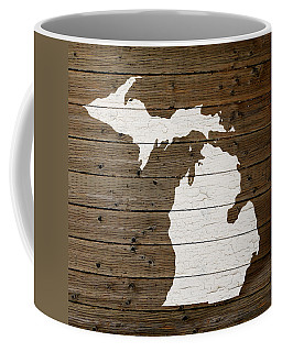 Map Of Michigan State Outline White Distressed Paint On Reclaimed Wood Planks Coffee Mug
