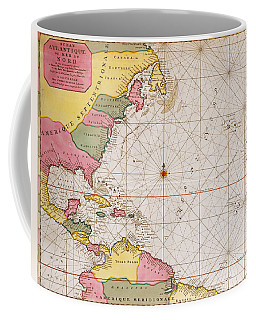 Map Of The Atlantic Ocean Showing The East Coast Of North America The Caribbean And Central America Coffee Mug