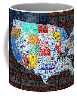 Map Of The United States In Vintage License Plates On American Flag Coffee Mug