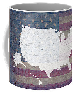 Map Of United States In White Old Paint On American Flag Barn Wood Coffee Mug