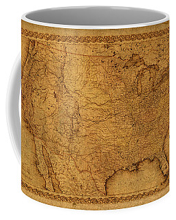 Map Of United States Of America Vintage Schematic Cartography Circa 1855 On Worn Parchment  Coffee Mug