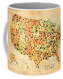 Map Of United States Of America With Crystallized Counties On Worn Parchment Coffee Mug