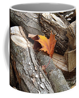 Maple Leaf In Wood Pile Coffee Mug