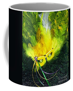 Coffee Mug featuring the painting Mardi Gras On Green by Alys Caviness-Gober