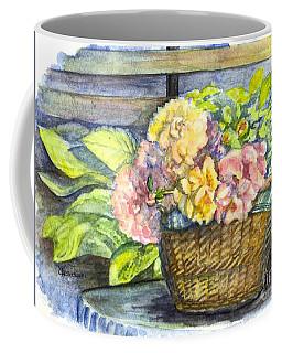 Marias Basket Of Peonies Coffee Mug by Carol Wisniewski