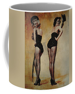 Coffee Mug featuring the photograph Marilyn Monroe And Jane Russell by Ericamaxine Price