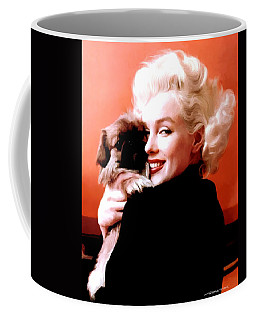 Marilyn Monroe And Pekingese Portrait Coffee Mug