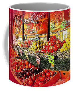 Apples And Plums In Red - Outdoor Markets Of New York City Coffee Mug by Miriam Danar
