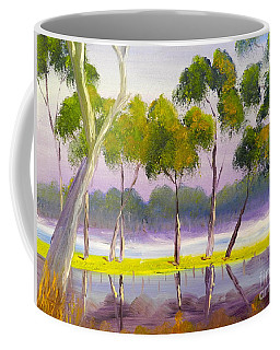 Coffee Mug featuring the painting Marshlands Murray River Red River Gums by Pamela  Meredith
