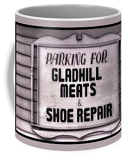 Coffee Mug featuring the photograph Maryland Country Roads - Some Things Just Don't Go Together No. 1 - Gladhill Meats And Shoe Repair by Michael Mazaika