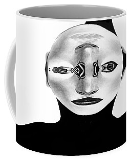 Coffee Mug featuring the painting Mask Black And White by Rafael Salazar