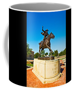 Coffee Mug featuring the photograph Masked Rider Statue by Mae Wertz