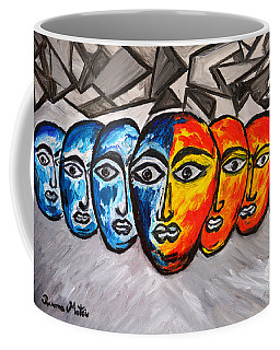 Coffee Mug featuring the painting Masks by Ramona Matei