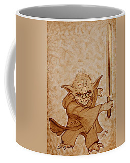 Coffee Mug featuring the painting Master Yoda Jedi Fight Beer Painting by Georgeta  Blanaru