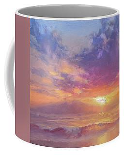 Maui To Molokai Hawaiian Sunset Beach And Ocean Impressionistic Landscape Coffee Mug by Karen Whitworth