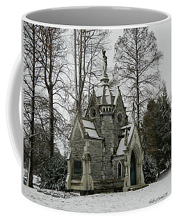Coffee Mug featuring the photograph Mausoleum In Winter by Kathy Barney